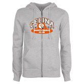 ENZA Ladies Grey Fleece Full Zip Hoodie-Celina Quarterback Club