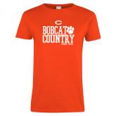 Ladies Orange T Shirt-Bobcat Country