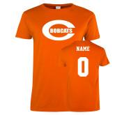 Ladies Orange T Shirt-C - Bobcats, Custom tee w/ name and #