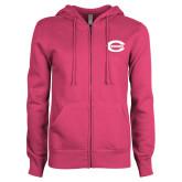 ENZA Ladies Fuchsia Fleece Full Zip Hoodie-C - Bobcats