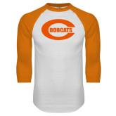 White/Orange Raglan Baseball T Shirt-C - Bobcats