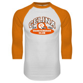 White/Orange Raglan Baseball T Shirt-Celina Quarterback Club