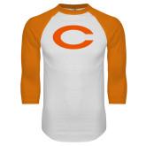 White/Orange Raglan Baseball T Shirt-C
