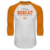 White/Orange Raglan Baseball T Shirt-Baseball Seams