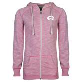 ENZA Ladies Hot Pink Marled Full Zip Hoodie-C - Bobcats