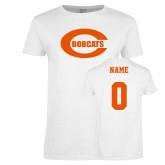 Ladies White T Shirt-C - Bobcats, Custom tee w/ name and #