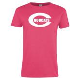 Ladies Fuchsia T Shirt-C - Bobcats
