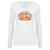 Ladies White Long Sleeve V Neck Tee-Celina Quarterback Club