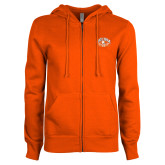 ENZA Ladies Orange Fleece Full Zip Hoodie-Celina Quarterback Club