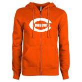 ENZA Ladies Orange Fleece Full Zip Hoodie-C - Bobcats