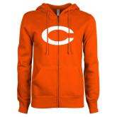 ENZA Ladies Orange Fleece Full Zip Hoodie-C