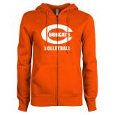 ENZA Ladies Orange Fleece Full Zip Hoodie-Volleyball