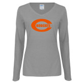 Ladies Grey Long Sleeve V Neck Tee-C - Bobcats
