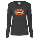 Ladies Dark Heather Long Sleeve V Neck Tee-C - Bobcats
