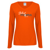 Ladies Orange Long Sleeve V Neck Tee-Bobcat Moms