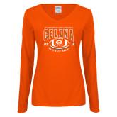 Ladies Orange Long Sleeve V Neck Tee-District 7AAAA Playoffs