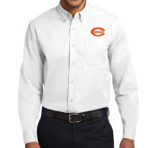 White Twill Button Down Long Sleeve-C - Bobcats