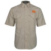 Khaki Short Sleeve Performance Fishing Shirt-C - Bobcats