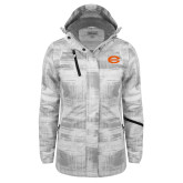 Ladies White Brushstroke Print Insulated Jacket-C - Bobcats