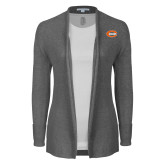 Ladies Heather Grey Open Front Cardigan-C - Bobcats