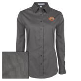 Ladies Grey Tonal Pattern Long Sleeve Shirt-C - Bobcats
