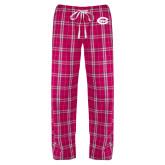 Ladies Dark Fuchsia/White Flannel Pajama Pant-C - Bobcats