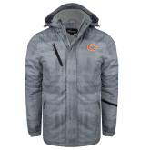 Grey Brushstroke Print Insulated Jacket-C