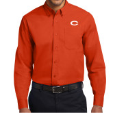 Orange Twill Button Down Long Sleeve-C