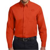 Orange Twill Button Down Long Sleeve-C - Bobcats