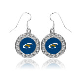 Crystal Studded Round Pendant Silver Dangle Earrings-C Eagle