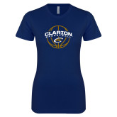 Next Level Ladies SoftStyle Junior Fitted Navy Tee-Clarion Basketball Arched