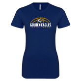 Next Level Ladies SoftStyle Junior Fitted Navy Tee-Golden Eagles Basketball Half Ball
