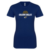 Next Level Ladies SoftStyle Junior Fitted Navy Tee-Golden Eagles Volleyball Half Ball