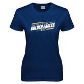 Ladies Navy T Shirt-Slanted Golden Eagles Stencil