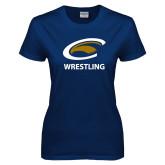 Ladies Navy T Shirt-Wrestling