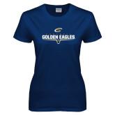 Ladies Navy T Shirt-Golden Eagles Football Underline