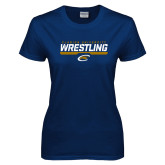 Ladies Navy T Shirt-Clarion University Wrestling Stencil