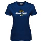 Ladies Navy T Shirt-Golden Eagles Volleyball Half Ball