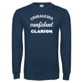 Navy Long Sleeve T Shirt-Courageous Confident Clarion