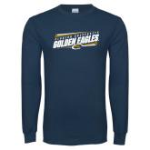 Navy Long Sleeve T Shirt-Slanted Golden Eagles Stencil