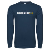 Navy Long Sleeve T Shirt-Golden Eagles Two Tone