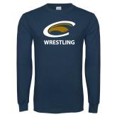 Navy Long Sleeve T Shirt-Wrestling