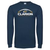 Navy Long Sleeve T Shirt-Clarion Football Half Ball