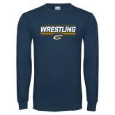 Navy Long Sleeve T Shirt-Clarion University Wrestling Stencil