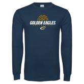 Navy Long Sleeve T Shirt-Golden Eagles Volleyball Half Ball