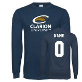 Navy Long Sleeve T Shirt-Primary Mark, Custom Tee w/ Name and #