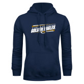 Navy Fleece Hoodie-Slanted Golden Eagles Stencil