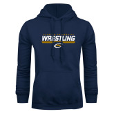 Navy Fleece Hoodie-Clarion University Wrestling Stencil