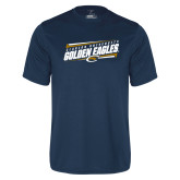 Performance Navy Tee-Slanted Golden Eagles Stencil
