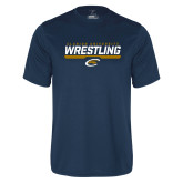 Performance Navy Tee-Clarion University Wrestling Stencil